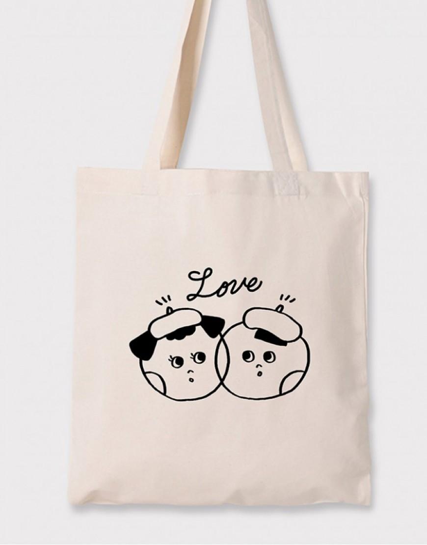 婚禮棉布直式環保袋│愛你的頻率│26x32cm│10入起訂