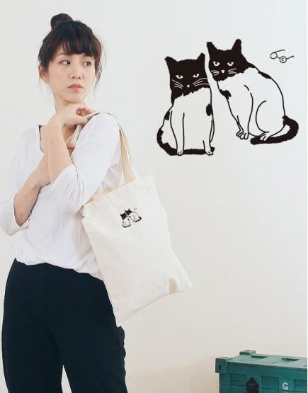 婚禮棉布直式環保袋│貓咪│26x32cm│10入起訂