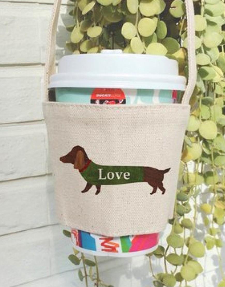預購 愛狗狗飲料提袋 | 雙層厚帆布 | 米白色 | 10入起訂