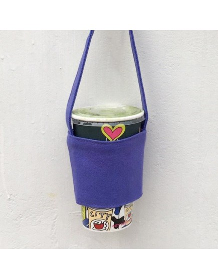 12N雙層帆布飲料提袋 - 紫色