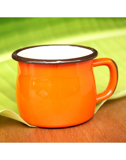 橘色   胖肚琺瑯金屬   馬克杯
