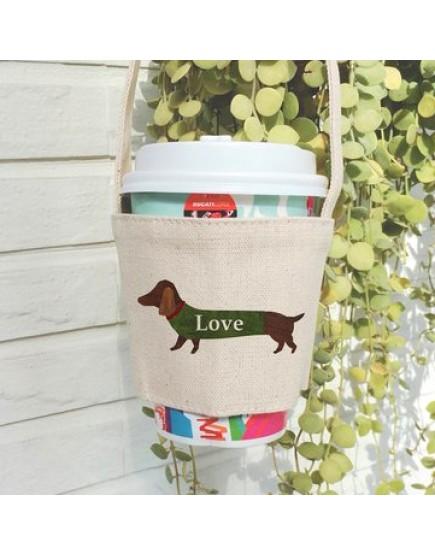 預購 愛狗狗飲料提袋   雙層厚帆布   米白色   10入一組