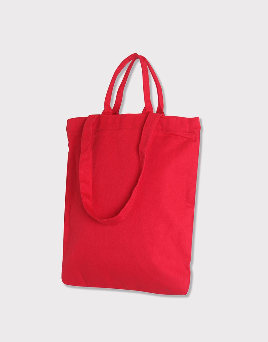帆布兩用直式袋│拉鍊│單層內袋│紅色