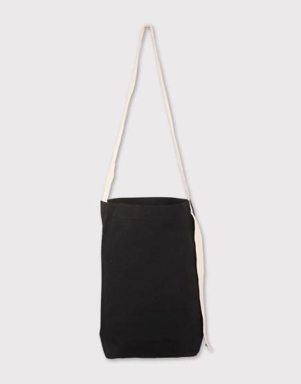 長背帶有底中帆布包|黑色