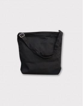 帆布肩背包│方形有底│背帶可調整│黑色