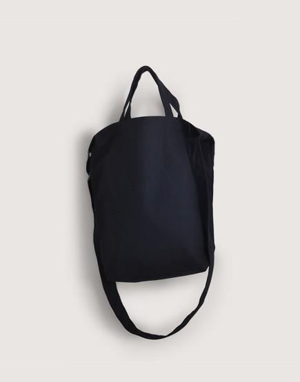 帆布直式兩用袋 | 黑色 | 有底磁釦款