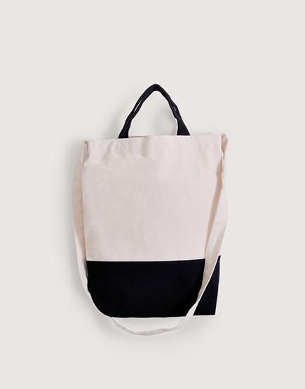 帆布直式兩用袋 黑白拼色 有底款