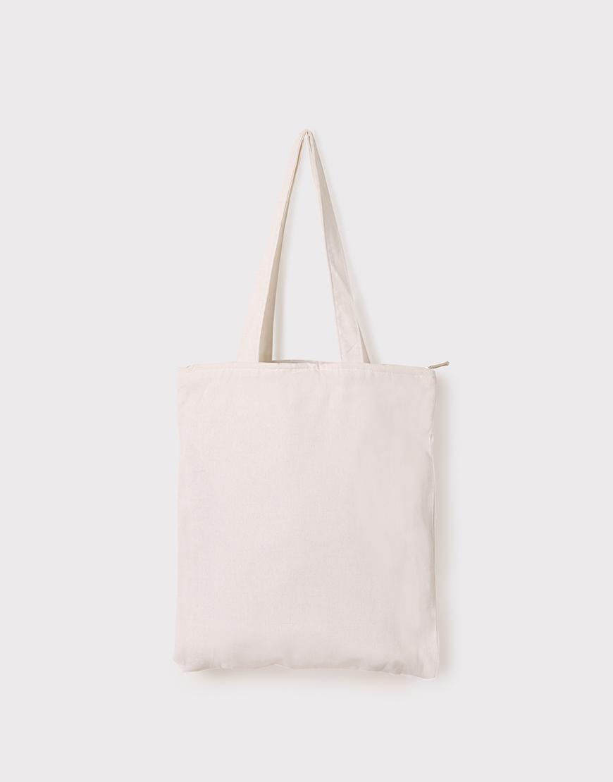 帆布手提包│米白色│直式布包│雙層拉鍊
