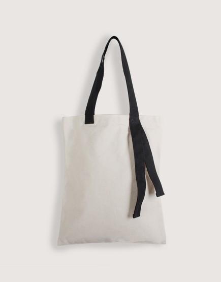 帆布直式袋 | 米白袋子+黑色背帶