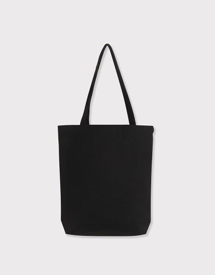 帆布肩背包│黑色│素色簡約直式立體布包