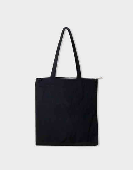 帆布肩背包│黑色│素色直式布包│雙層拉鍊