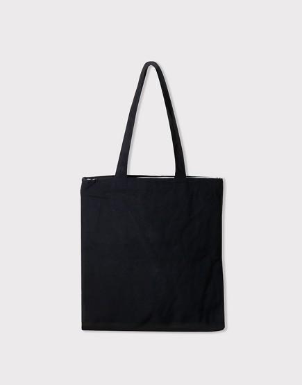 帆布肩背包│黑色│素色直式布包│雙層內袋