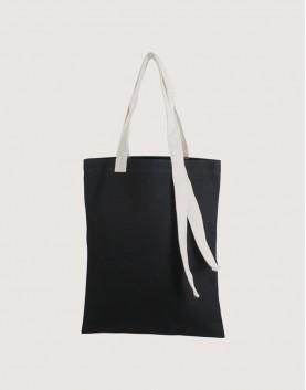 帆布直式袋 | 黑色袋子+米白背帶