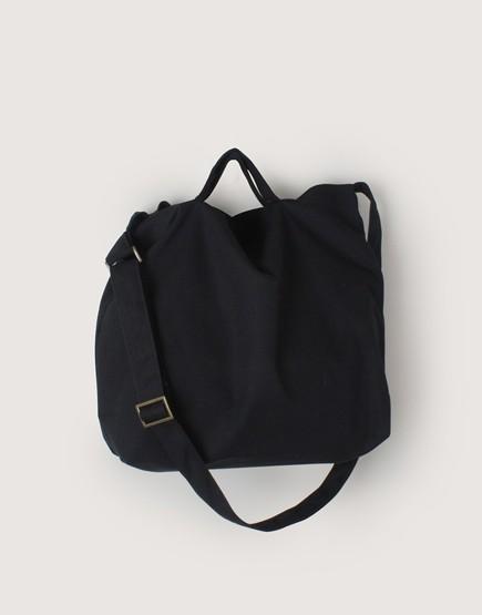 帆布橫式兩用袋 | 手提斜背 | 中帆布 | 黑色
