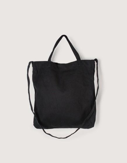 厚帆布單層有底兩用橫式袋 - 黑色