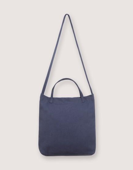 厚帆布單層有底兩用橫式袋 - 深藍