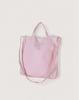 厚帆布單層有底兩用橫式袋 - 粉色