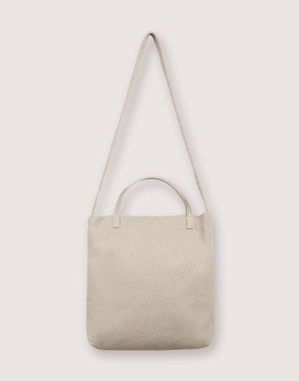 厚帆布單層有底兩用橫式袋 - 卡其