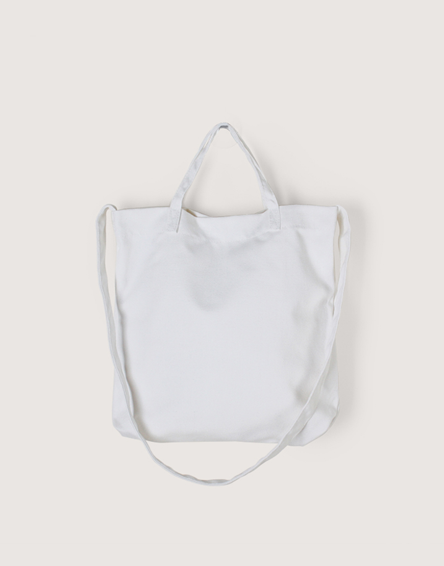厚帆布單層有底兩用橫式袋 - 白色