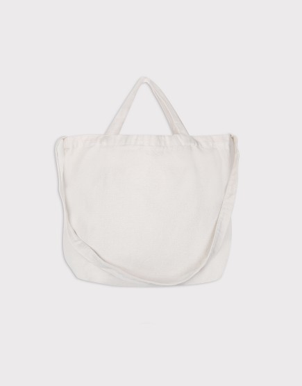 帆布斜背手提2用托特 | 橫式袋 | 米白色