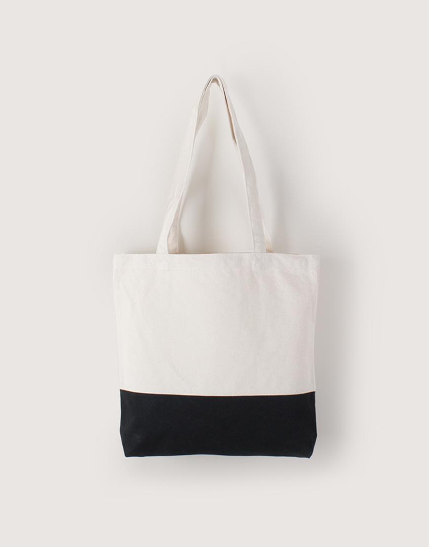帆布橫式袋 | 中帆布 | 雙色拼接款