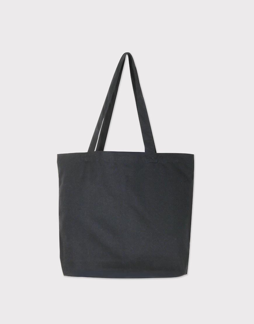 厚帆黑色帆布│單層橫式袋│有底無側