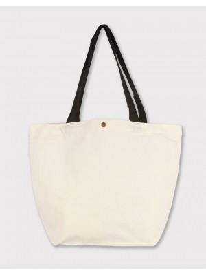 厚帆寬底橫式袋 | 黑提把加釦