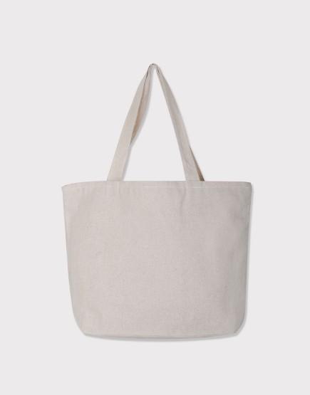 棉麻款│橫式側背布包│雙層拉鍊