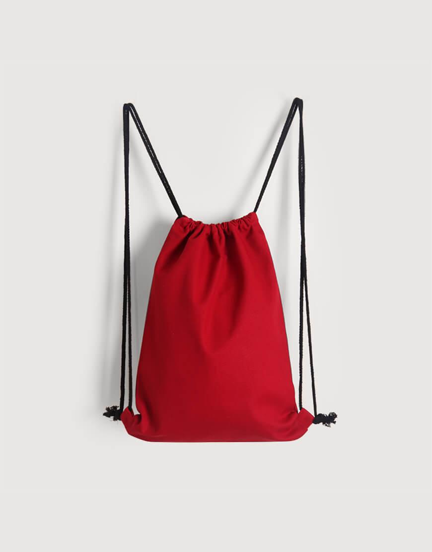 束口後背包│紅色│八色帆布