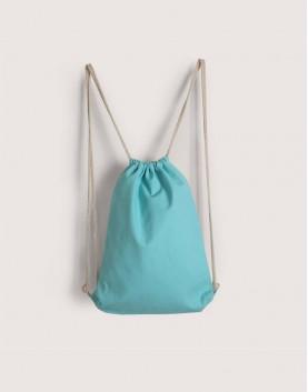 束口後背包│淺藍綠色│八色帆布