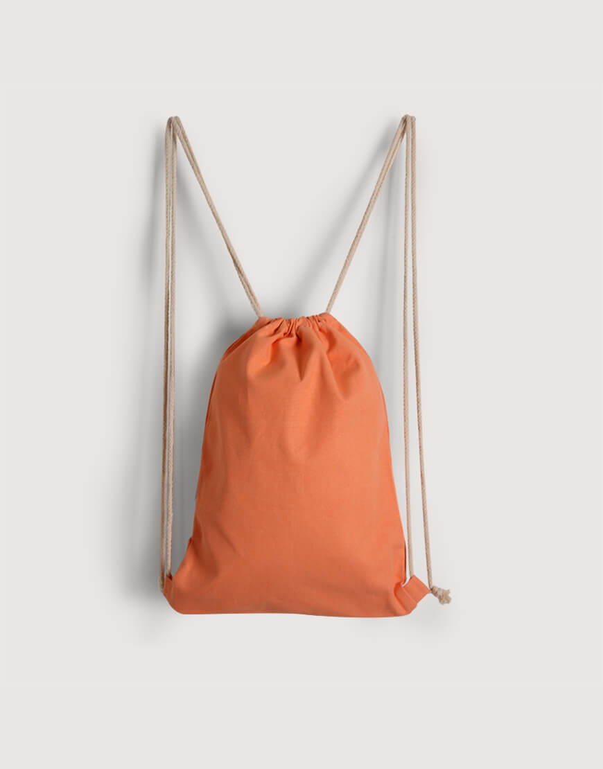 束口後背包│淺橘色│八色帆布