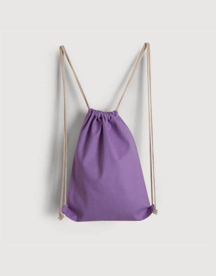束口後背包│紫色│八色帆布