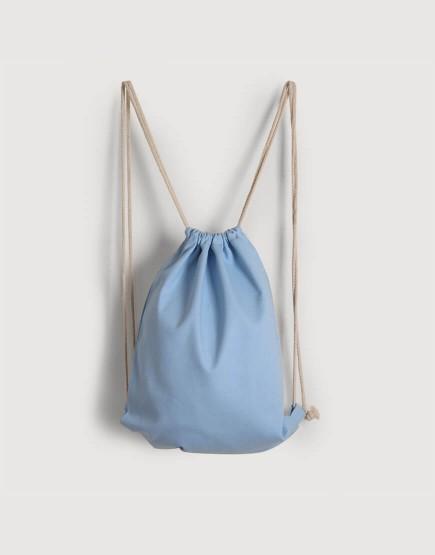 束口後背包│淺藍色│八色帆布
