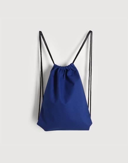 束口後背包│藍色│八色帆布