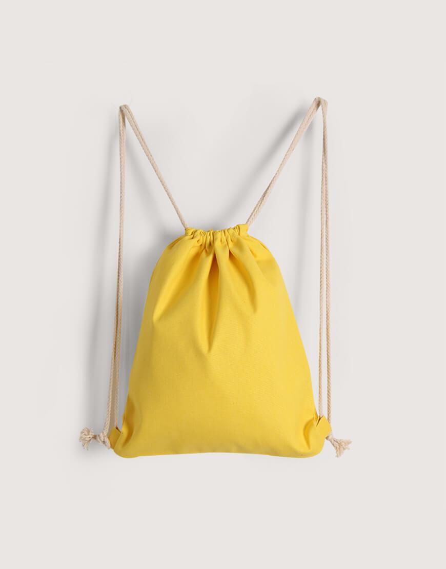 束口後背包│黃色│八色帆布