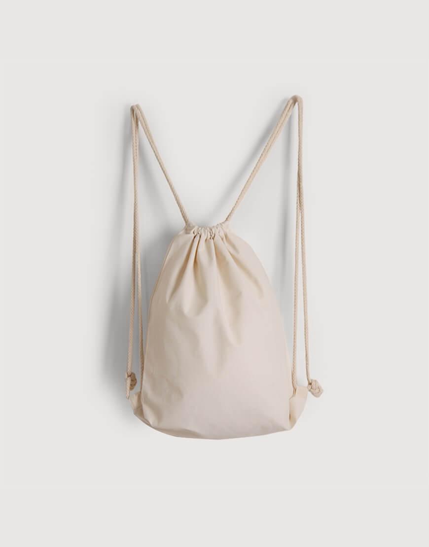 束口後背包 | 棉布 | 米白色