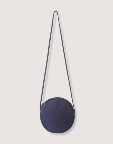 圓形厚帆斜背小包 藍/黑