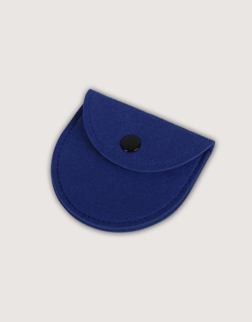 羊毛氈零錢袋   半圓形   深藍色