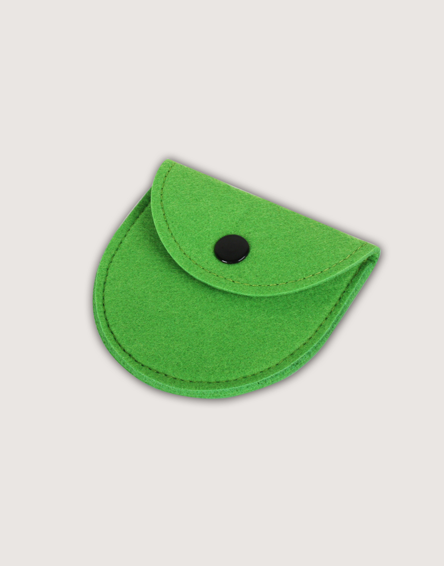 羊毛氈零錢袋   半圓形   草綠色