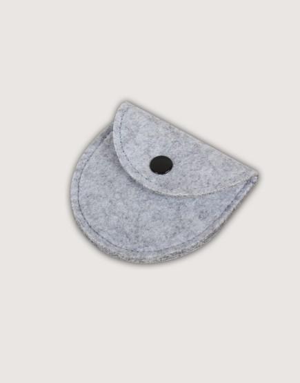 羊毛氈零錢袋 | 半圓形 | 淺灰色
