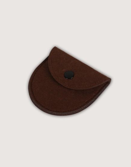 羊毛氈零錢袋 | 半圓形 | 咖啡色