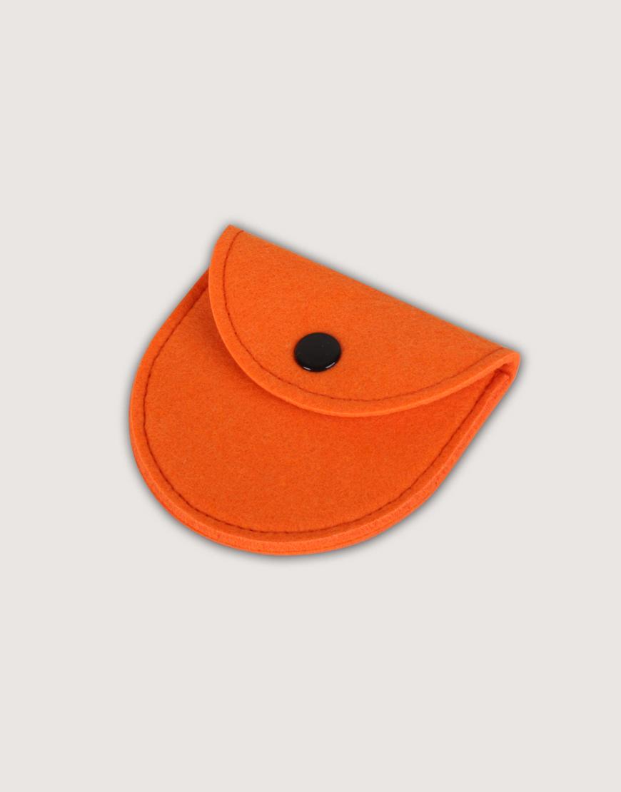 羊毛氈零錢袋 | 半圓形 | 亮橘色