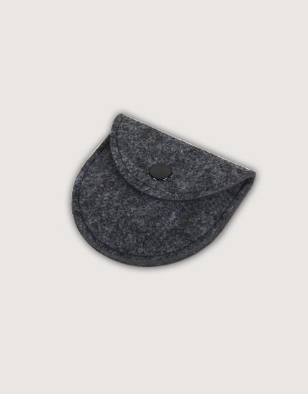 羊毛氈零錢袋 | 半圓形 | 鐵灰色