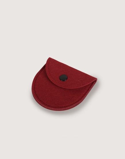 羊毛氈零錢袋 | 半圓形 | 酒紅色