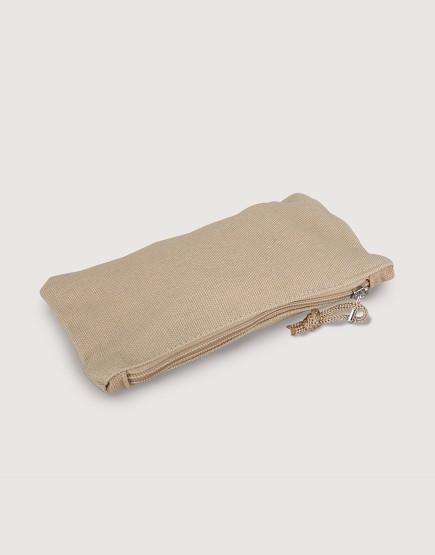 帆布拉鍊收納袋 | 拉鍊筆袋 | 卡其色