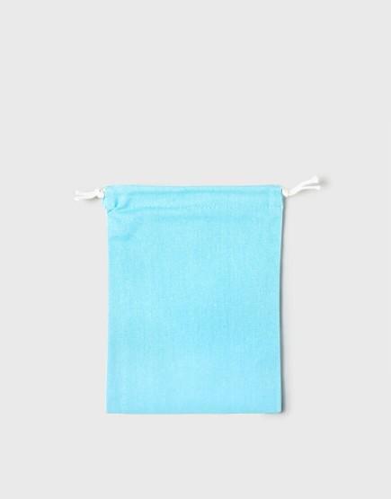 多色中號束口帆布收納袋│淺藍綠色│包裝袋│禮物袋│可印圖