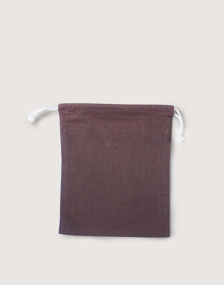 棉麻中號束口收納袋│咖啡色│包裝袋│禮物袋
