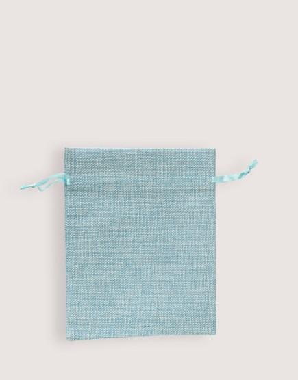 仿亞麻中號束口袋│天藍色│包裝袋│禮物袋