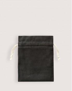 仿麂皮雙層絨布荷葉邊束口袋│黑色│包裝袋│禮物袋