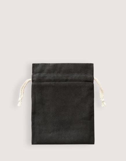 仿麂皮雙層絨布荷葉邊束口袋 - 黑色